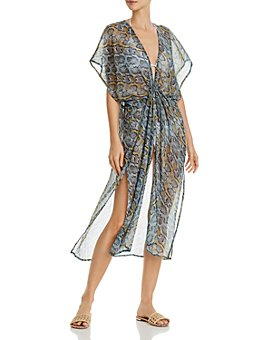Echo - Python Printed Open-Front Midi Swim Cover-Up