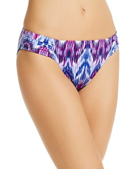 Tommy Bahama - Ikat-Print Shirred Hipster Bikini Bottom