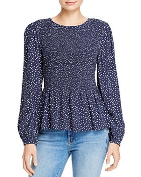 BeachLunchLounge - Lauren Dot-Print Smocked Peplum Top