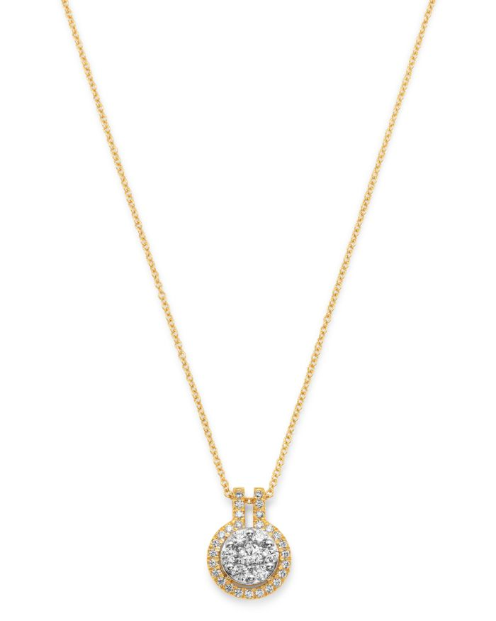 Bloomingdale's Diamond Halo Cluster Pendant Necklace in 14K White & Yellow Gold - 100% Exclusive  | Bloomingdale's