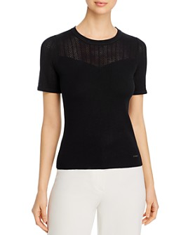 T Tahari - Ribbed Short-Sleeve Sweater