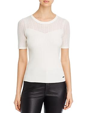 T Tahari Ribbed Short-Sleeve Sweater-Women