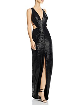 Aidan by Aidan Mattox - Strappy Cutout Sequin Gown - 100% Exclusive