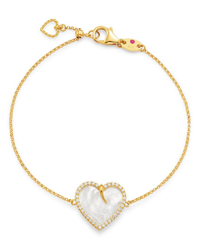 Roberto Coin - 18K Yellow Gold Mother-of-Pearl & Diamond Heart Bracelet - 100% Exclusive
