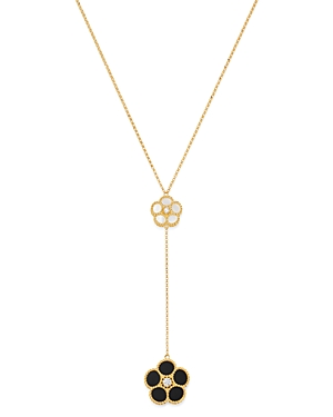 Roberto Coin 18K Yellow Gold Mixed Daisy Mother-of-Pearl, Onyx & Diamond Flower Y Necklace - 100% Exclusive-Jewelry & Accessories