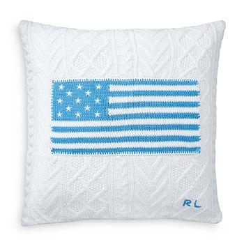 """Ralph Lauren - Cable Knit Flag Decorative Pillow, 20"""" x 20"""""""