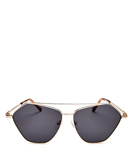 Le Specs Luxe - Unisex Dweller Brow Bar Geometric Aviator Sunglasses, 62mm Brand Name