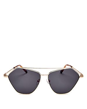 Le Specs Luxe Unisex Dweller Brow Bar Geometric Aviator Sunglasses, 62mm