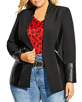 City Chic Plus - Panelled-Detail Jacket