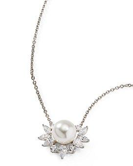 "Nadri - Nectar Swarovski Glass Pearl Flower Pendant Necklace, 16-18"""