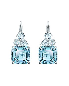 Swarovski - Sparkling Aqua Crystal Leverback Earrings