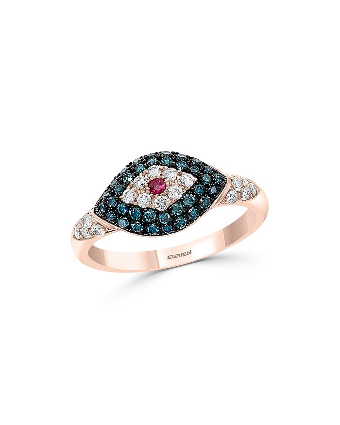 Bloomingdale's - Blue & White Diamond Evil Eye Ring in 14K Rose Gold - 100% Exclusive