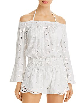 Surf Gypsy - Off-The-Shoulder Eyelet Romper Swim Cover-Up