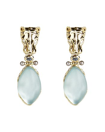 Alexis Bittar - Panther Head, Lucite & Crystal Clip-On Drop Earrings
