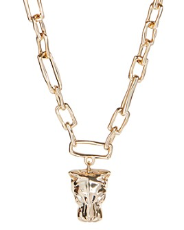 Alexis Bittar - Panther Head Chain Link Pendant Necklace, 15.5""