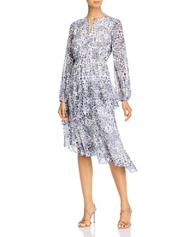 AQUA - Printed Ruffled Asymmetric Dress