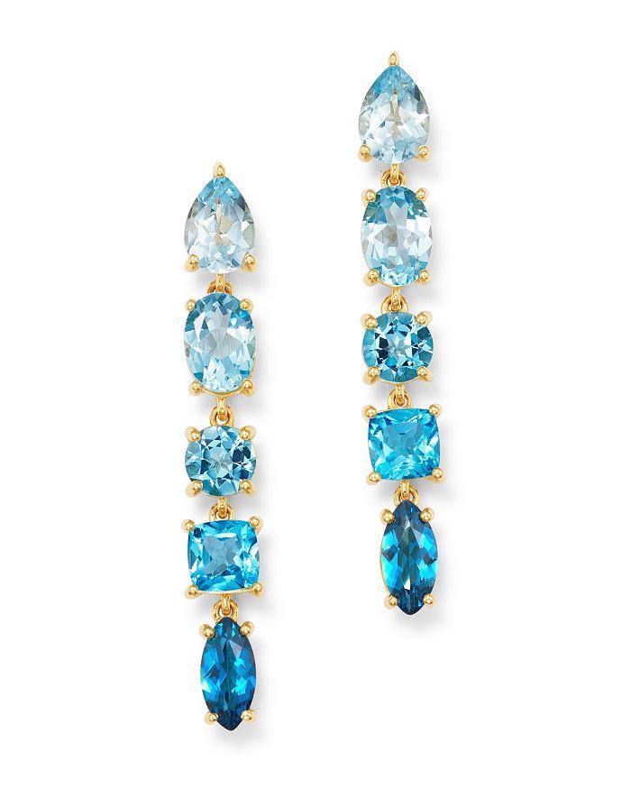 Bloomingdale's - Blue Topaz Ombré Linear Drop Earrings in 14K Yellow Gold - 100% Exclusive