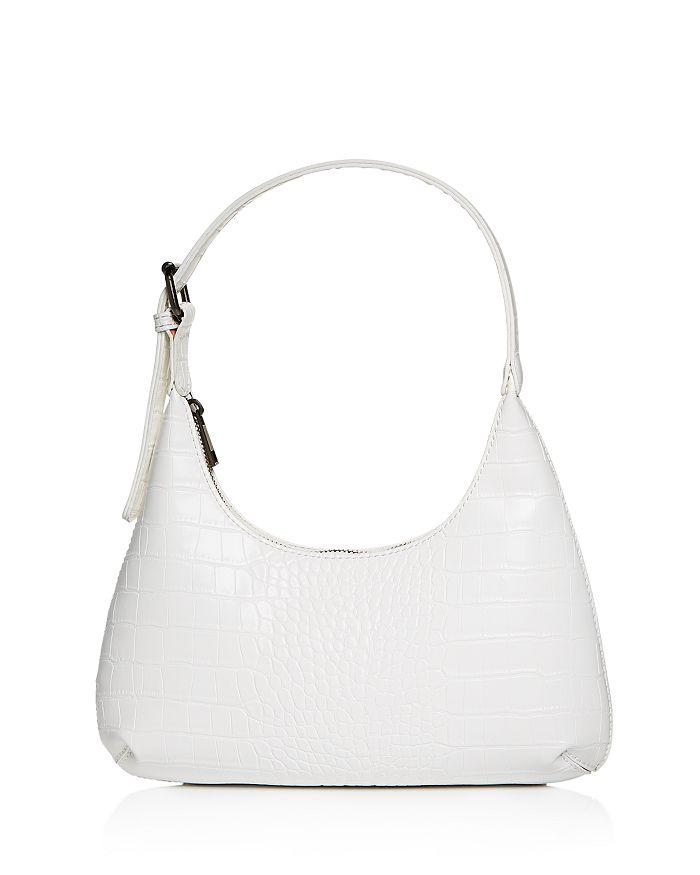 Aqua Croc-embossed Mini Hobo Bag - 100% Exclusive In White/gunmetal