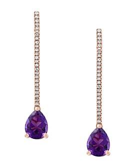 Bloomingdale's - Amethyst & Diamond Drop Earrings in 14K Rose Gold - 100% Exclusive