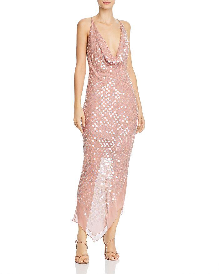 Cushnie - Cowl Neck Paillettes Dress with Asymmetrical Hem