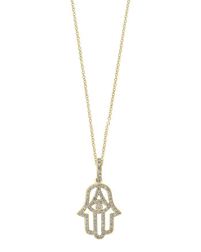 Bloomingdale's - Diamond Hamsa Hand Pendant Necklace in 14K Gold - 100% Exclusive