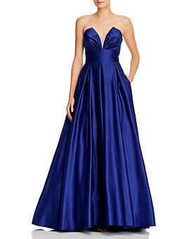 AQUA - Illusion-V-Neck Ballgown - 100% Exclusive
