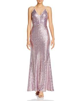 AQUA - Fluted Sequin Gown - 100% Exclusive