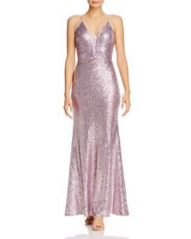AQUA - Fluted Sequin Gown - 100% Exclusive