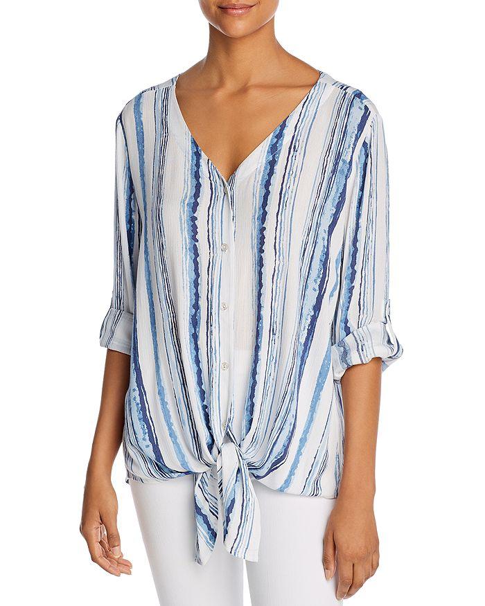 Alison Andrews Watercolor Stripe Tie-front Shirt In Varied Watercolor Stripe