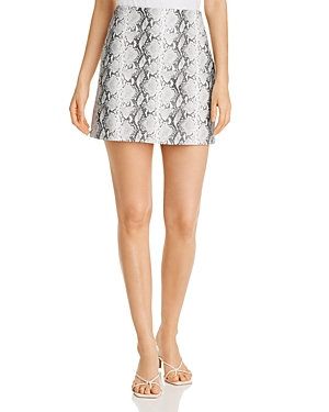 cupcakes and cashmere Ramona Faux-Leather Snake Print Mini Skirt