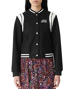 Maje Jackets Berry Varsity Jacket