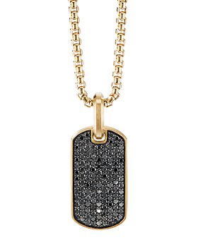 David Yurman - Streamline® Tag Pendant in 18K Yellow Gold with Pavé Black Diamonds
