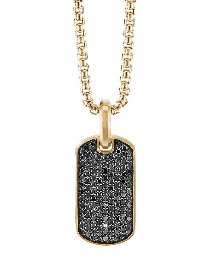 David Yurman - Streamline® Tag Pendant in 18K Yellow Gold with Pavé Black Diamonds