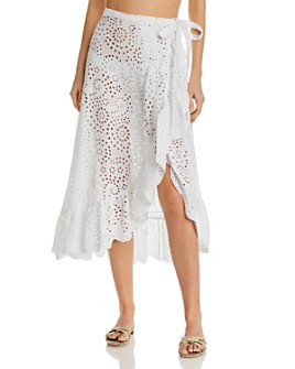 Shoshanna - Eyelet Ruffled Wrap Skirt Swim Cover-Up