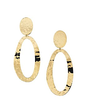 IPPOLITA - 18K Gold Classico Double Oval Hammered Clip-On Drop Earrings