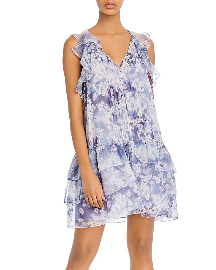 AQUA - Ruffled Floral Print Dress - 100% Exclusive
