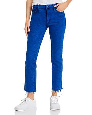 Mother The Rascal Frayed Ankle Jeans in Ultramarine-Women