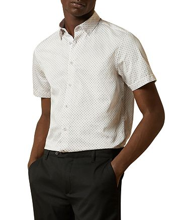 Ted Baker - Micro-Geo Short-Sleeve Slim Fit Button-Down Shirt