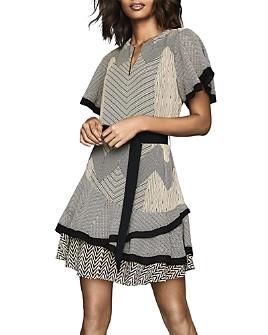 REISS - Hannah Zig-Zag Printed Dress
