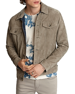 John Varvatos Star Usa Steven Suede Regular Fit Trucker Jacket