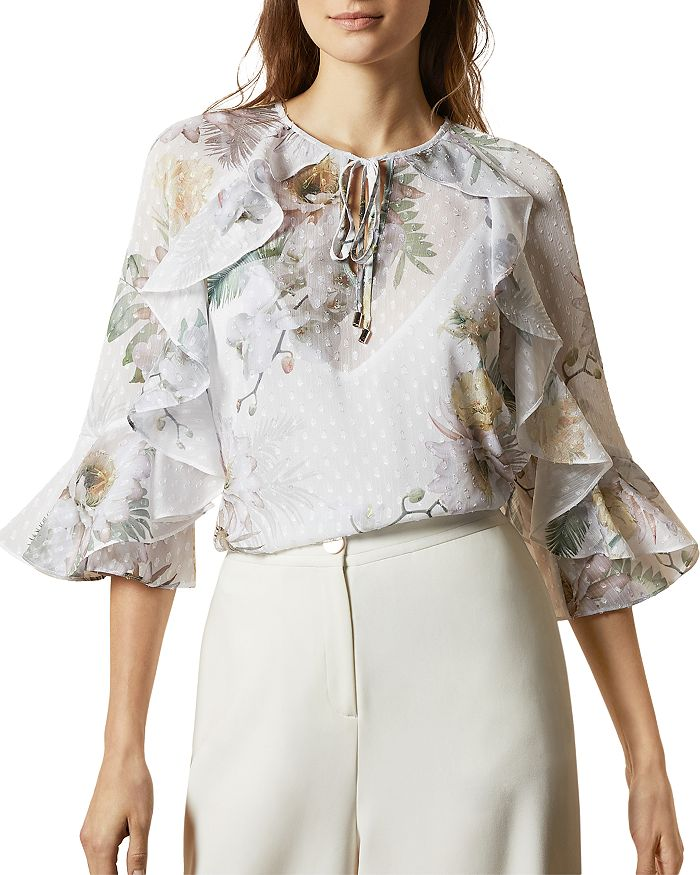 Ted Baker Woodland Printed Ruffled Keyhole Blouse In Ivory