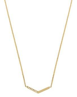 """ALLSAINTS - Gold-Tone Pavé Arrow Pendant Necklace, 16""""-18"""""""