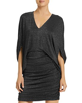 HALSTON - Metallic Knit Dress