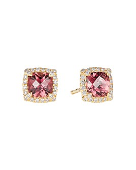 David Yurman - Petite Châtelaine® Pavé Bezel Stud Earrings in 18K Yellow Gold with Gemstones and Diamonds