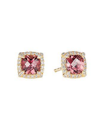 David Yurman - Petite Châtelaine® Pavé Bezel Stud Earrings in 18K Yellow Gold with Pink Tourmaline
