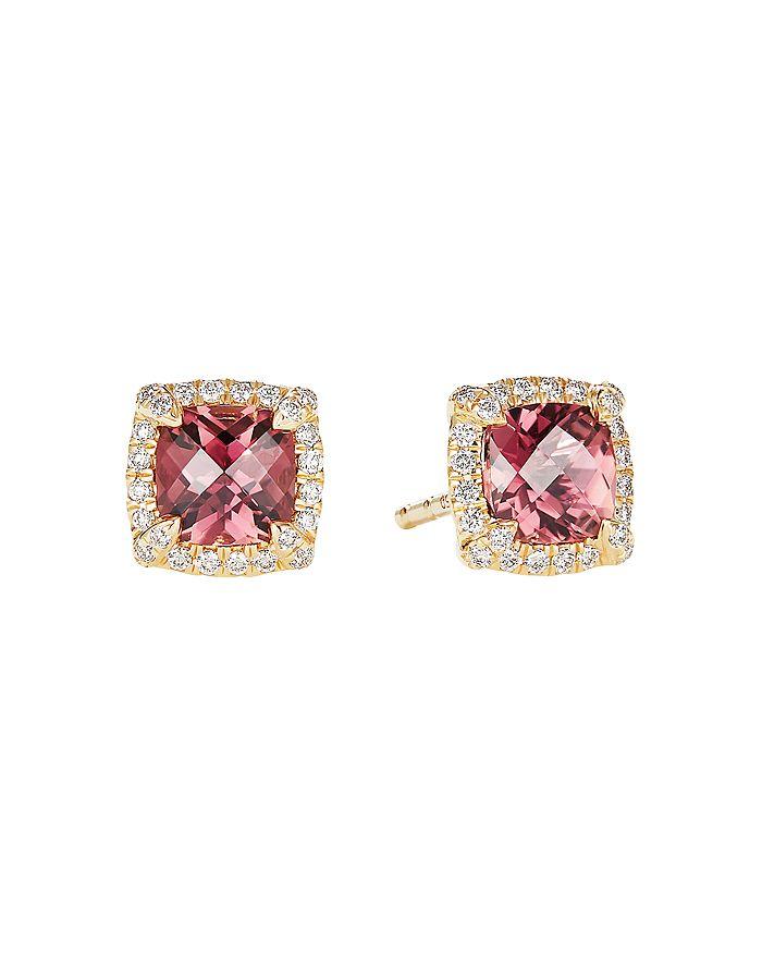 David Yurman - Petite Châtelaine® Pavé Bezel Stud Earrings in 18K Yellow Gold with Gemstones and Diamonds