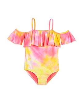 Clements Twins x PQ Swim - Girls' Tie-Dyed One-Piece Swimsuit, Little Kid, Big Kid - 100% Exclusive
