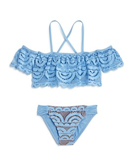 Clements Twins x PQ Swim - Girls' Lace Two-Piece Swimsuit, Little Kid, Big Kid - 100% Exclusive