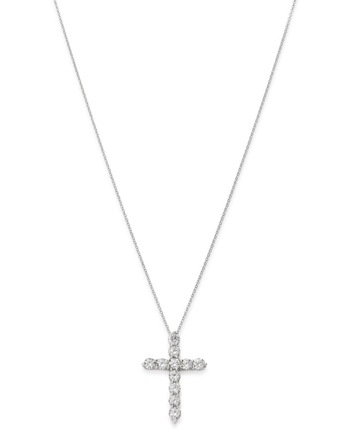 """Bloomingdale's Diamond Cross Pendant Necklace in 14K White Gold, 16-18"""" - 100% Exclusive  
