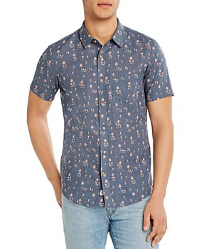 Marine Layer - Cotton Tropical-Print Slim Fit Button-Down Shirt